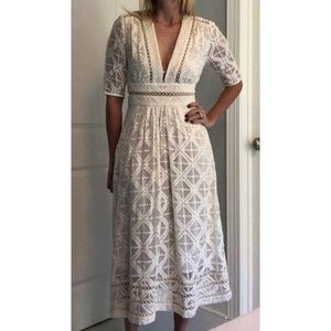 Zimmermann Ivory Broderie V-Neck Midi Dress Size 0